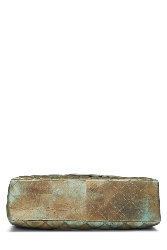 Green & Bronze Quilted Calfskin Half Flap Jumbo, , large image number 4