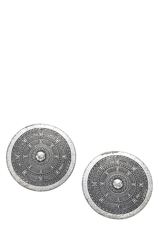 Silver Shield Clip-On Earrings, , large image number 0