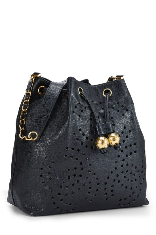Black Caviar Leather Perforated Bucket Large, , large image number 1
