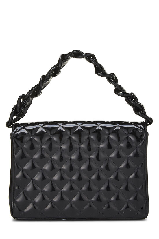 Black Quilted Patent Leather Handbag Small, , large image number 3