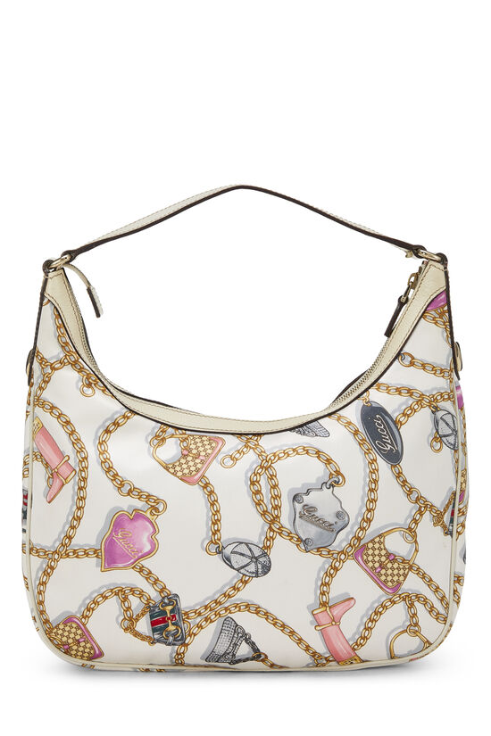 White & Multicolor Satin Charmy Hobo, , large image number 3
