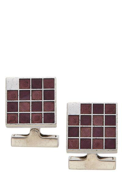 Silver & Purple Grid Cufflinks
