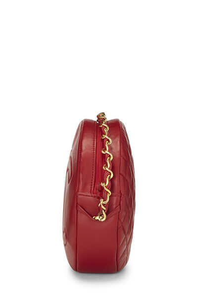 Red Lambskin 'CC' Round Shoulder Bag, , large