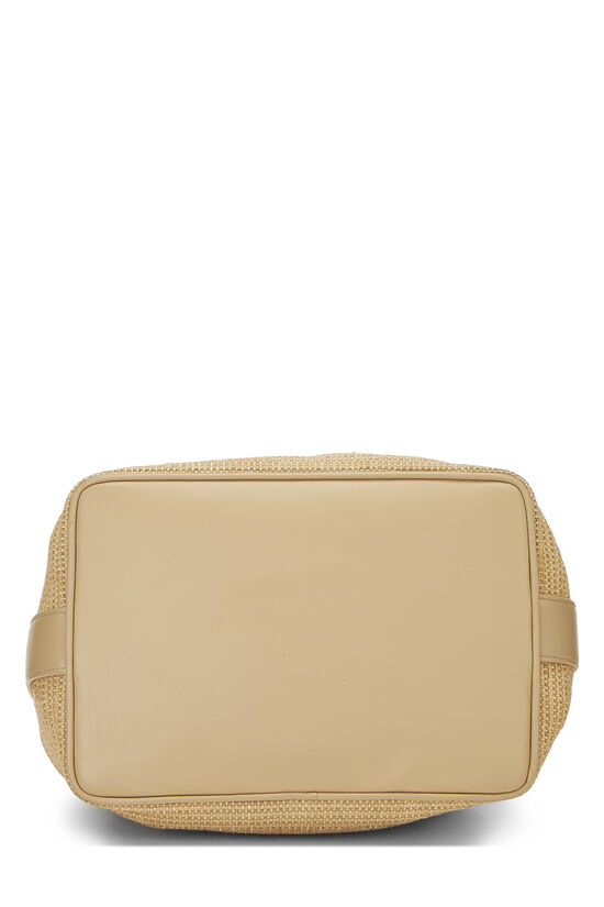Beige Raffia 'CC' Bucket Bag Small, , large image number 4