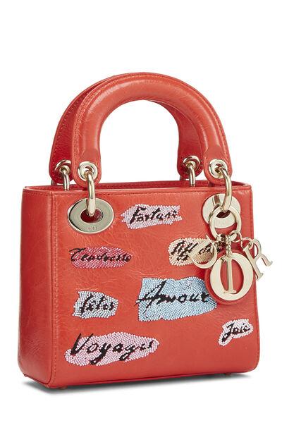 Red Beaded Calfskin Lady Dior Mini, , large