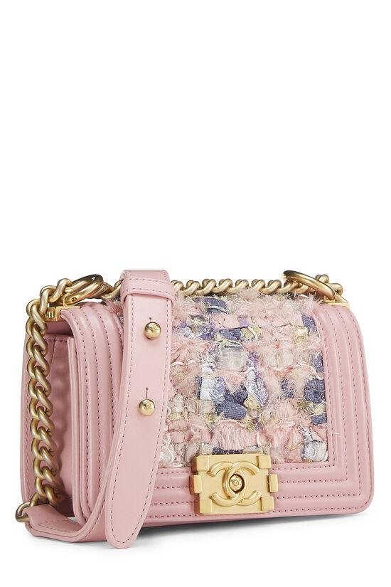 Pink Calfskin & Multicolor Tweed Boy Bag Mini, , large image number 2
