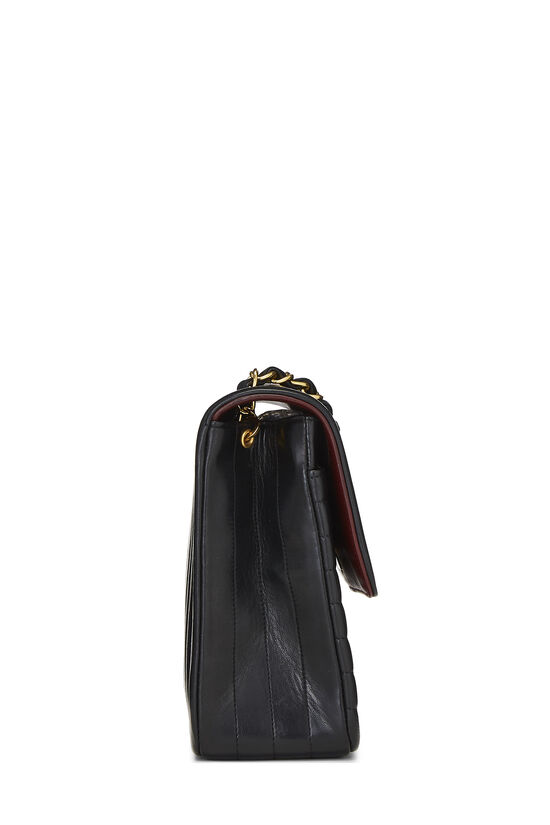 Black Quilted Lambskin Circle Lock Half Flap Small, , large image number 2