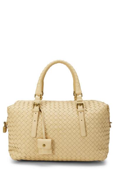 Yellow Intrecciato Leather Montaigne Handbag