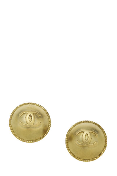 Gold 'CC' Round Earrings