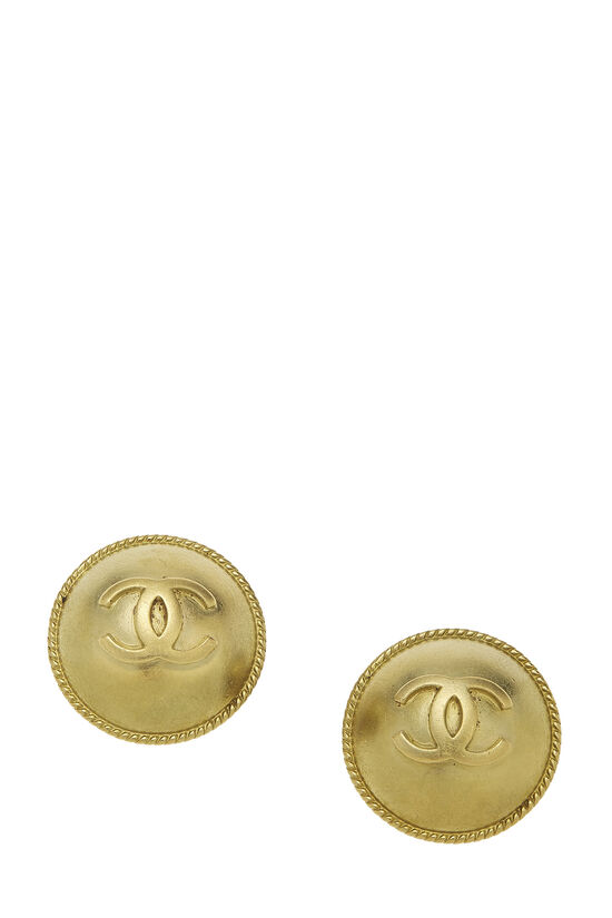 Gold 'CC' Round Earrings, , large image number 0