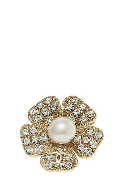 Gold & Faux Pearl Camellia Pin Small