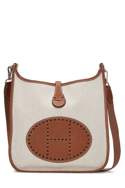 Brown Leather & Natural Toile Evelyne I PM