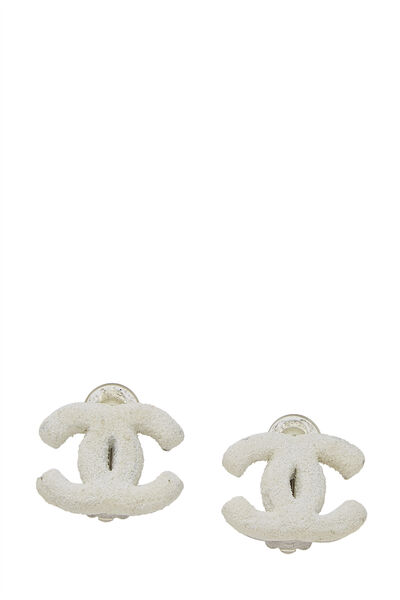 Silver 'CC' White Frosted Earrings