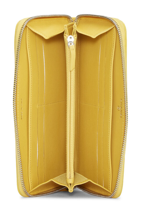 Yellow Lambskin 'CC' Zippy, , large image number 3