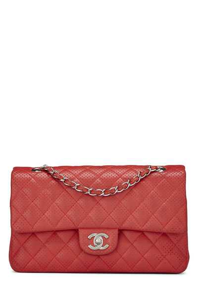 Red Perforated Lambskin Classic Double Flap Medium