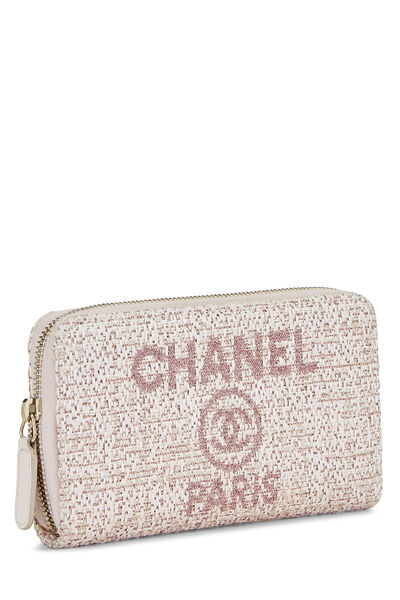 Pink Woven Raffia Deauville Wallet Small, , large