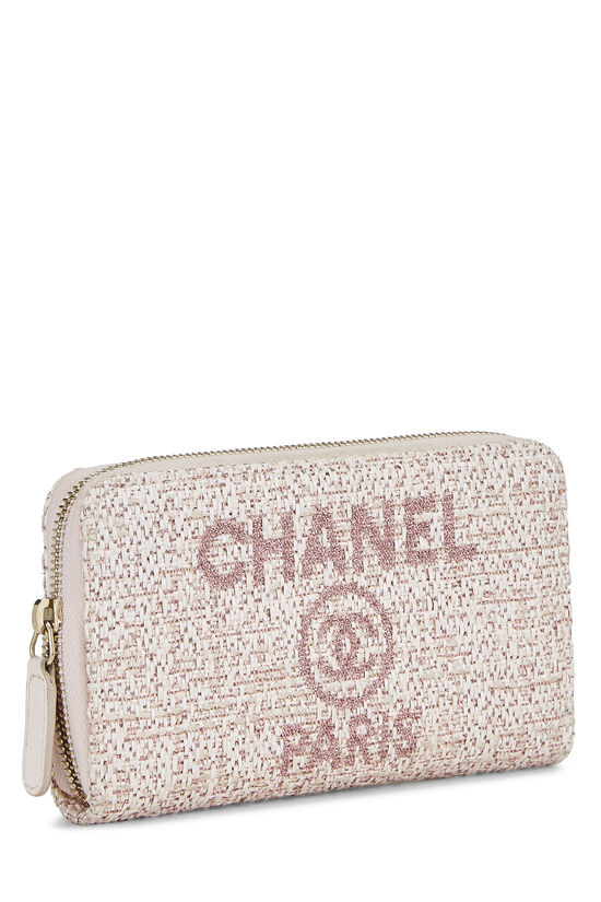 Pink Woven Raffia Deauville Wallet Small, , large image number 1