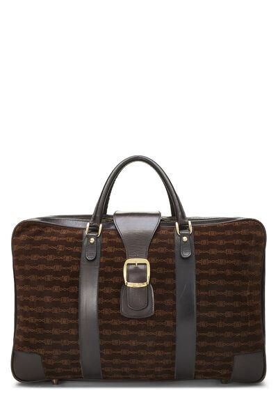 Brown Suede Logo Suitcase