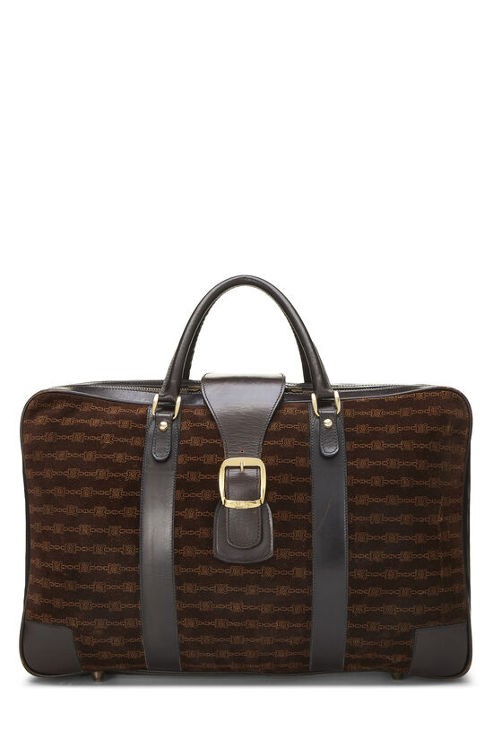 Brown Suede Logo Suitcase, , large image number 0