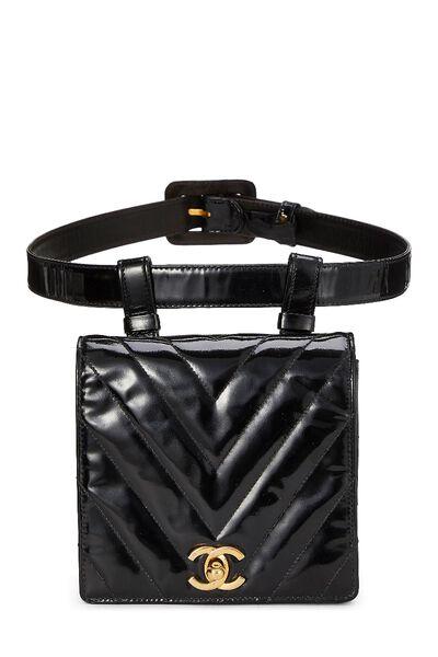 Black Chevron Patent Leather Belt Bag