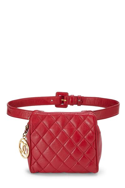 Red Quilted Lambskin Belt Bag 30