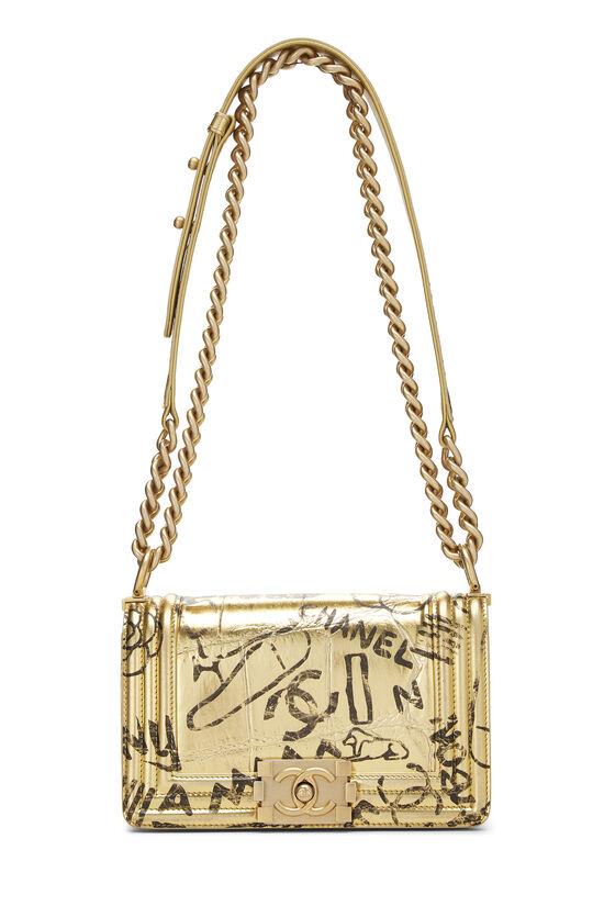 Paris-New York Gold Embossed Graffiti Boy Bag Small, , large image number 6