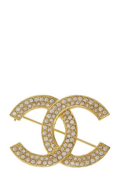 Gold & Crystal 'CC' Pin