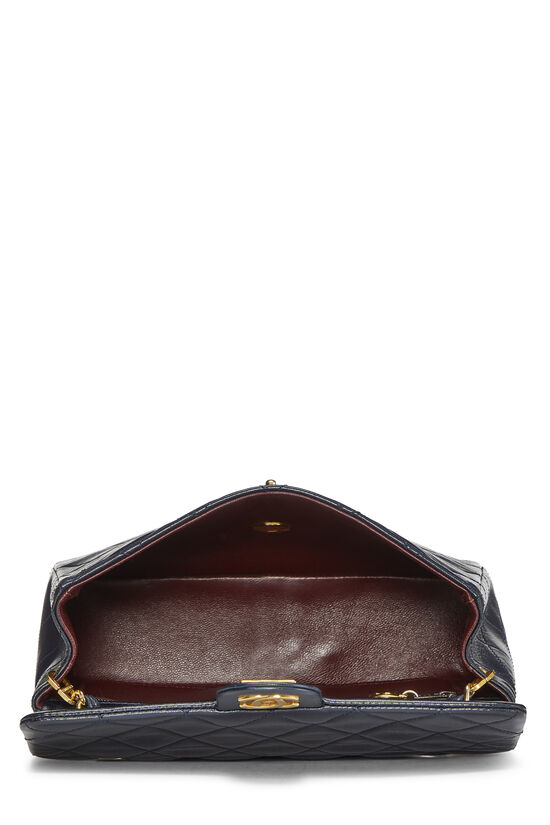 Navy Quilted Lambskin Half Flap Small, , large image number 5