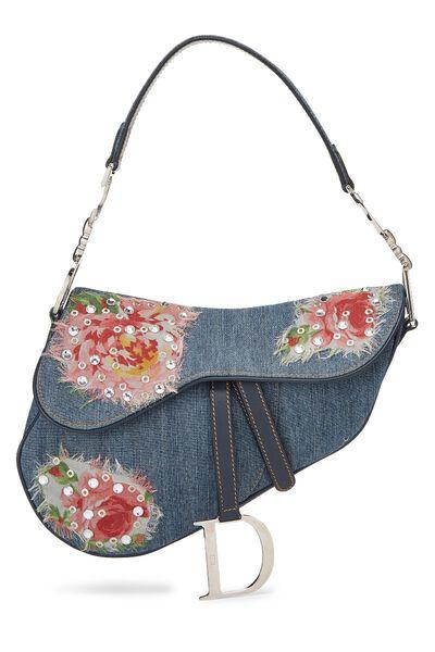 Blue Denim Floral Saddle Bag