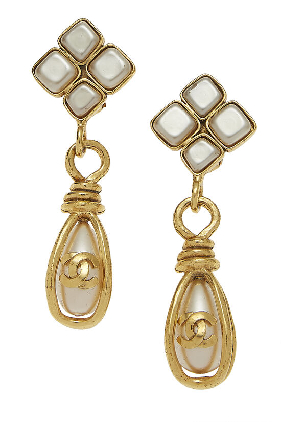 Gold & Faux Pearl Dangle Earring Large, , large image number 0