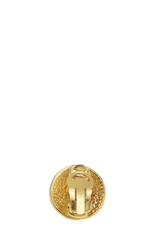 Gold 'CC' Engraved Earrings, , large image number 1