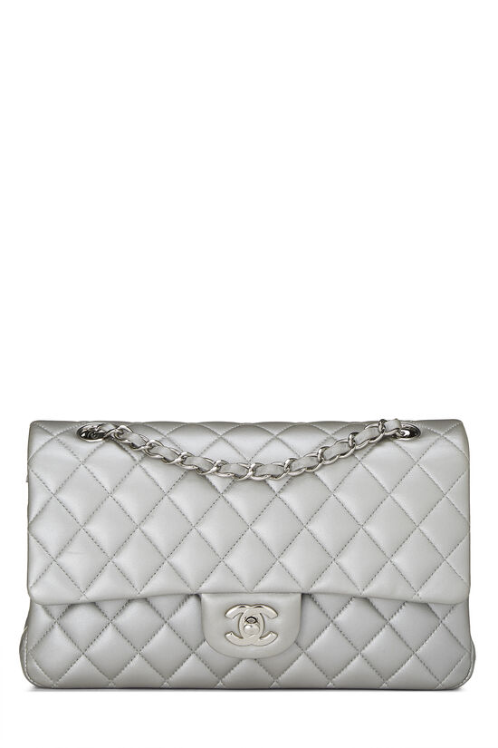 Metallic Silver Quilted Lambskin Classic Double Flap Medium, , large image number 0