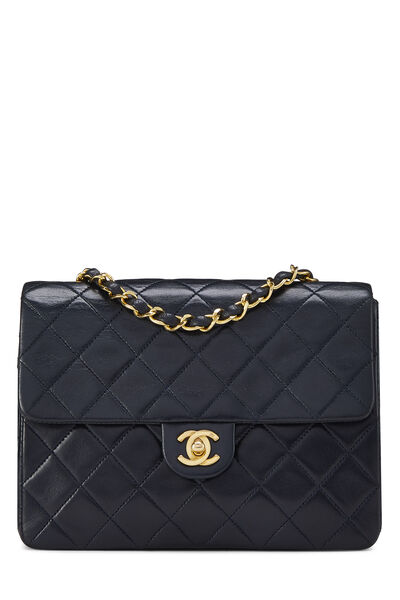 Navy Quilted Lambskin Half Flap Small
