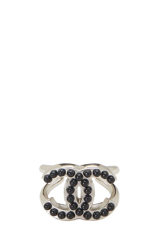 Silver & Black 'CC' Ring, , large image number 2