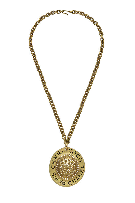 Gold Textured CC Necklace XL, , large image number 0