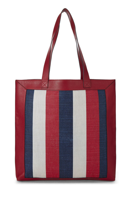 Red Leather & Canvas Sylvie Baiadera Tote, , large image number 3