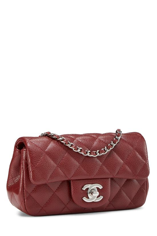 Burgundy Quilted Caviar Half Flap Mini, , large image number 1