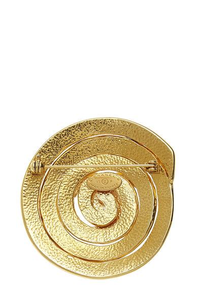 Gold 'CC' Swirl Pin Large, , large