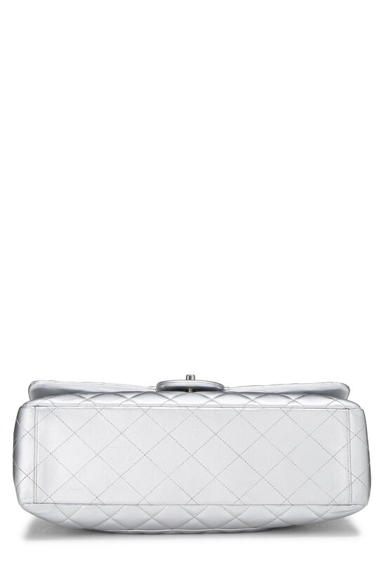 Metallic Silver Quilted Lambskin Classic Flap Maxi, , large image number 4