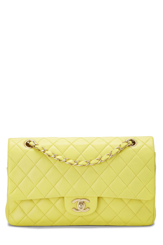 Yellow Quilted Lambskin Classic Double Flap Medium, , large image number 0