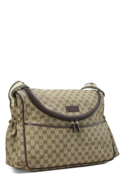 Green GG Canvas Diaper Bag, , large
