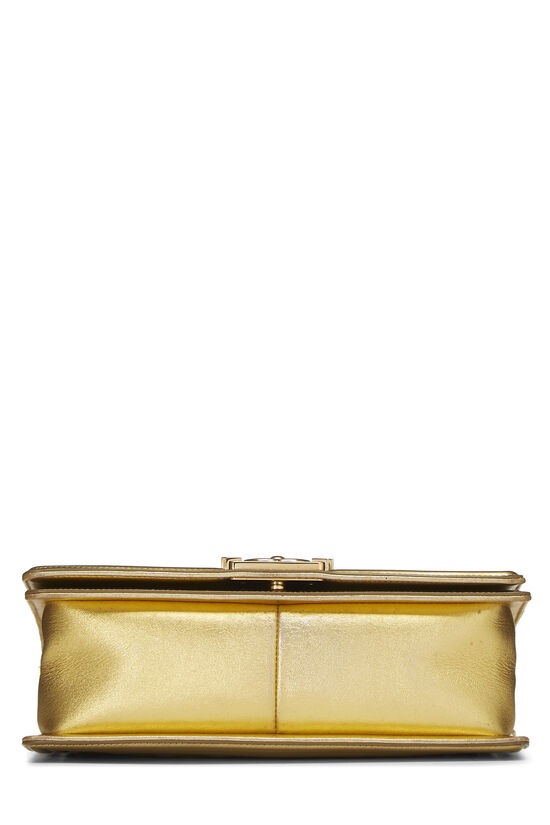 Gold Quilted Patent Leather Boy Bag Medium, , large image number 5