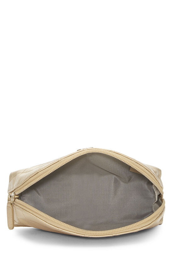 Gold Quilted Calfskin Cosmetic Pouch Small, , large image number 3