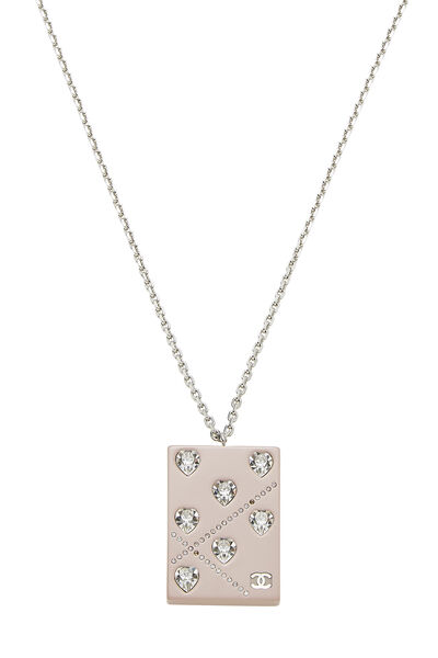 Pink Acrylic Crystal Heart Necklace, , large