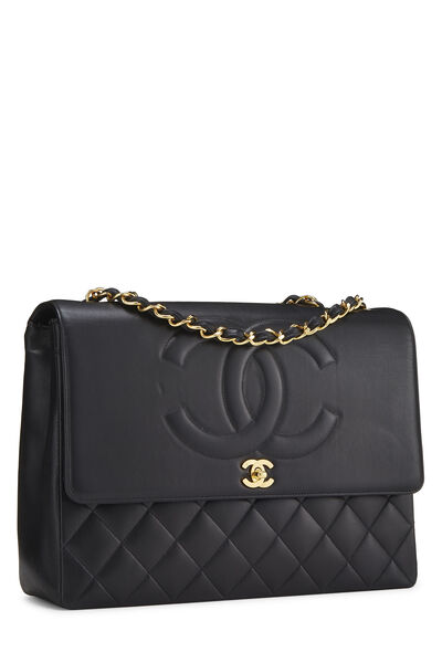 Black Quilted Lambskin 'CC' Flap Maxi, , large