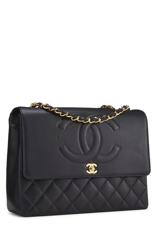 Black Quilted Lambskin 'CC' Flap Maxi, , large image number 1
