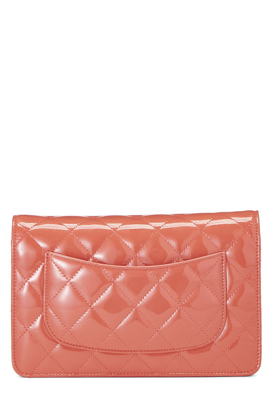 Coral Quilted Patent Leather Classic Wallet On Chain (WOC), , large image number 4