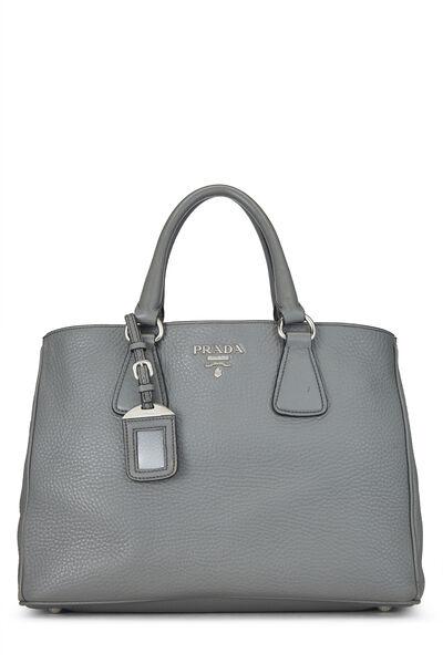 Grey Vitello Daino Handbag