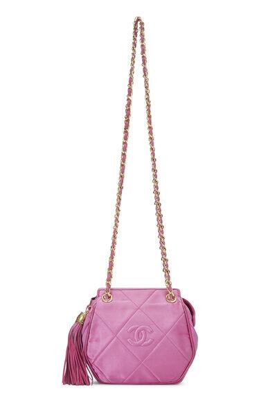 Pink Quilted Satin 'CC' Shoulder Bag Mini