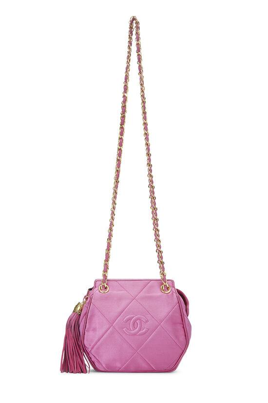 Pink Quilted Satin 'CC' Shoulder Bag Mini, , large image number 0